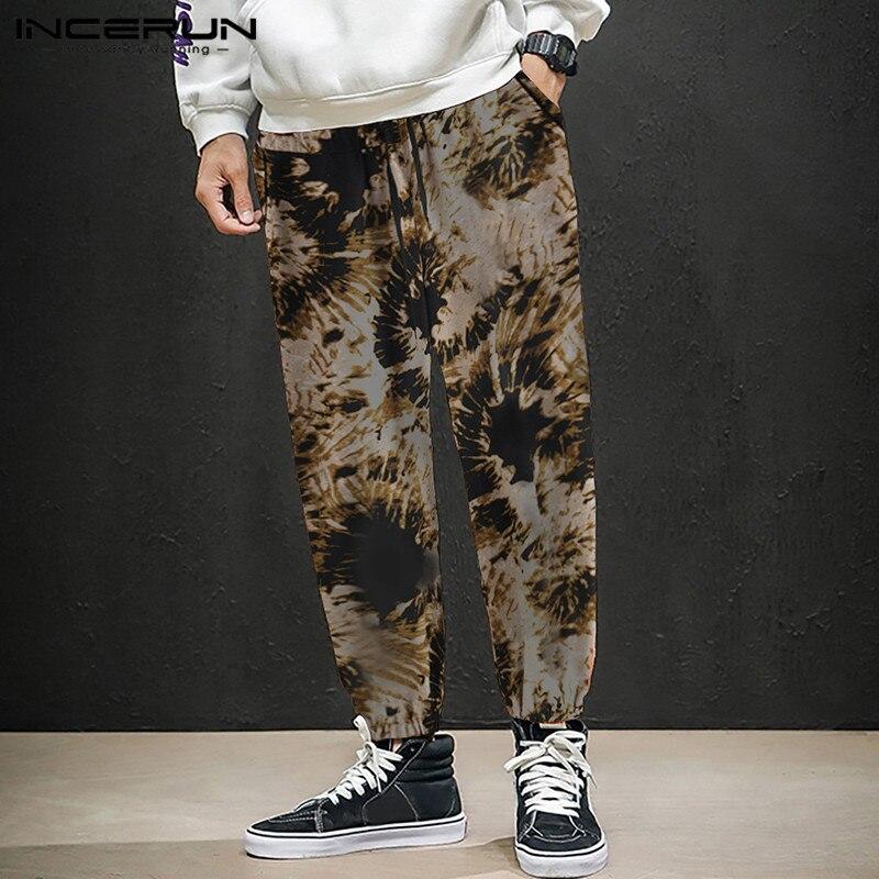 2020 Mens Breathable Casual Pants Elastic Waist Print Vintage Joggers Loose Trousers Male Workout Streetwear Sweatpants INCERUN