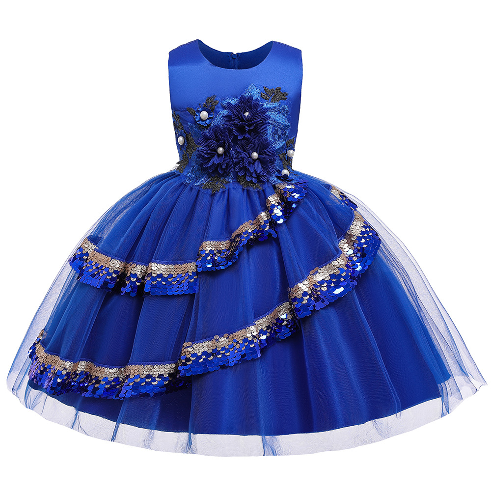 Royal Blue Sequins  Kids  Party Dresses  Tulle Royal Blue  Flower Girls Dresses For Wedding Party In Stock