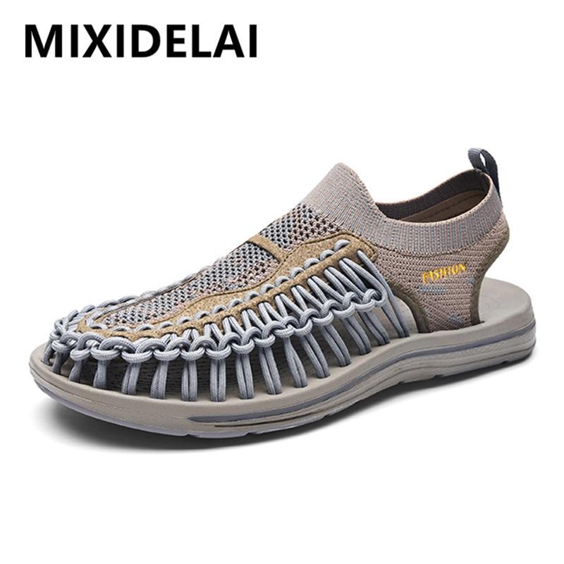 Summer Men's Sandals Beach Shoes Handmade Weaving Design Breathable Casual Beach Shoes Lightweight Soft Bottom Outdoor Sandals