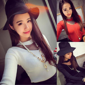 Fashion Women round Neck Long Sleeve Sweaters Sheer Mesh Patchwork Tops Blouse