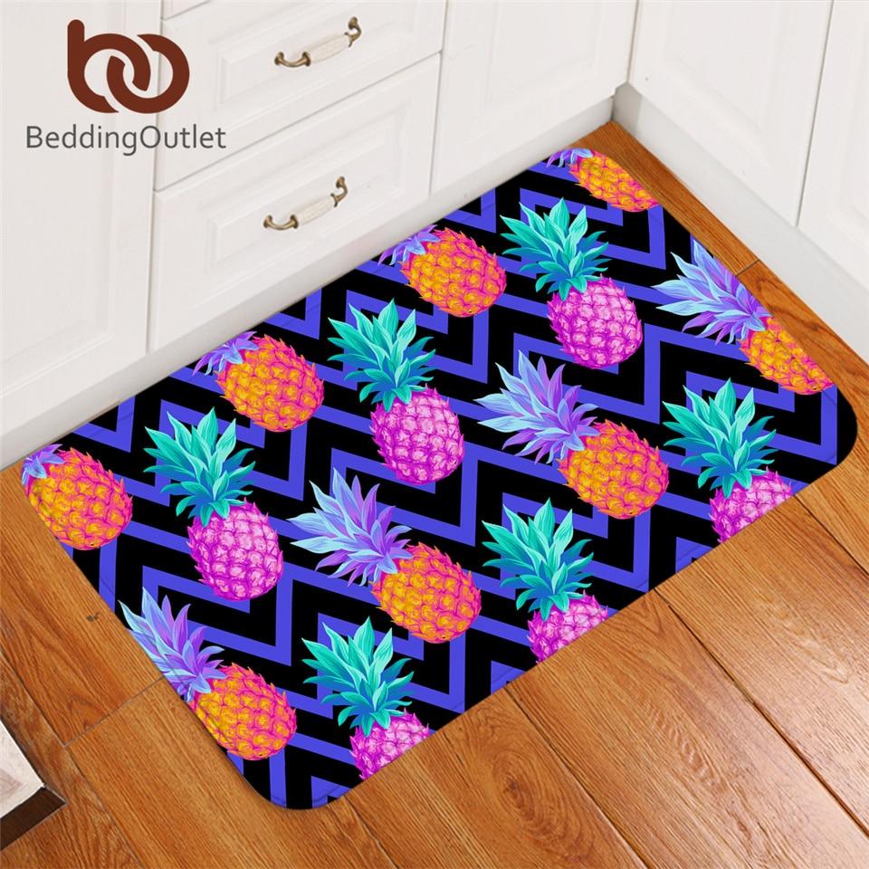 BeddingOutlet Pineapple Carpet Tropical Fruit Non-slip Soft Rug Geometric Floor Mat Absorbent Purple Doormat For Bedroom 40x60cm