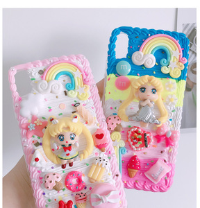 Image 2 - For iphone X/XS Max DIY case 3D sailor moon phone cover for iphone 8 7 6 6s plus XR handmade cream candy flower case girl gift