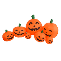 Halloween Decorrtion Outdoor 220cm Festival Halloween Inflatable Blow Up Ghost 7 Pumpkins Decorrtion EU Plug/US Plug