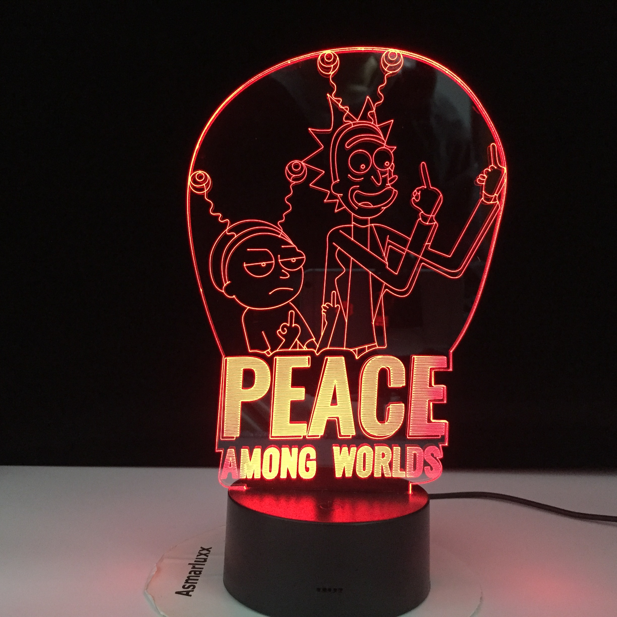 Peace Among Worlds Rick Lamp Kids Nightlight For Bedroom Decoration Touch Sensor Color Changing 3d Led Night Light Rick & Morty