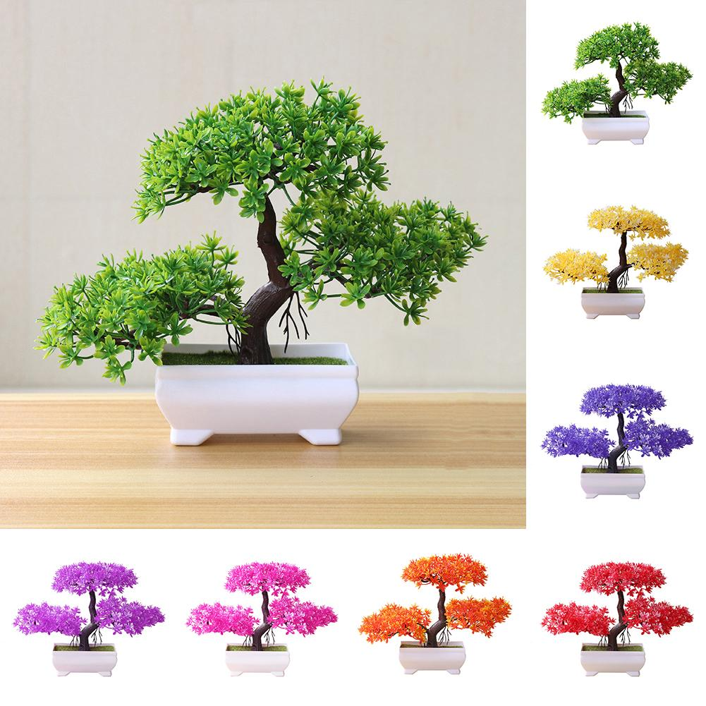 1PC Artificial Green Pot Welcoming Pine Emulate Bonsai Simulation Artificial Potted Plant With Pot Home Garden Ornam