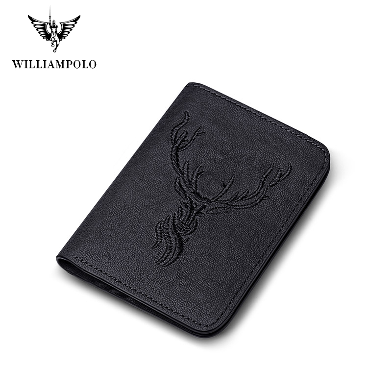 Williampolo Fashion Small Mini Ultra-thin Compact Mens Wallet Leather Handmade wallet Cowhide Card Holder Short Design Purse New