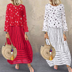 Image 2 - Echoine Women Long Maxi Dress Polka Dot Large Loose Fake Two piece Cotton Linen Dress Autumn Plus Size Sundress Female Clothings