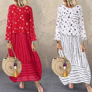 Image 2 - Echoine נשים ארוך מקסי שמלה מנוקדת גדול רופף מזויף שני חלקים כותנה פשתן שמלת סתיו בתוספת גודל נשית קיצית clothings