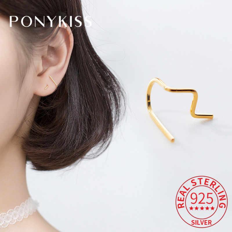PONYKISS เงินแท้ 925 เส้น Minimalist Hoop ต่างหูผู้หญิงที่ละเอียดอ่อนแฟชั่นต่างหูอุปกรณ์เสริม Girl Chic ของขวัญ