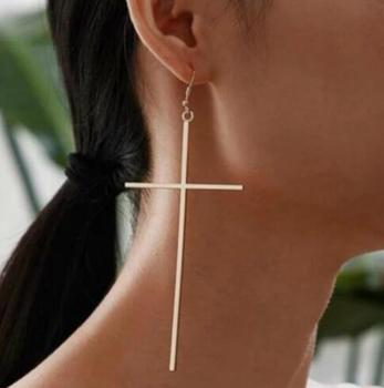Ethnic Big Cross Long Earrings for Women Gold Color Drop Earrings Gold Silver Ear Jewelry Dropshipping bijoux ethnique femmes image