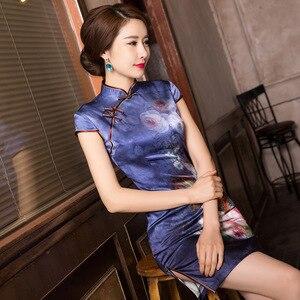 Image 2 - 2019 précipité été nouveau classique imprimé soie Cheongsam tempérament dame A entreprend de cultiver la moralité courte Qipao robe
