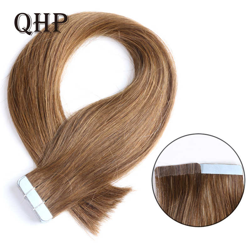 Qhp Haar Remy Human Hair Extensions 2G/Stand 20 Stks/pak Tape In Haar Huid Inslag