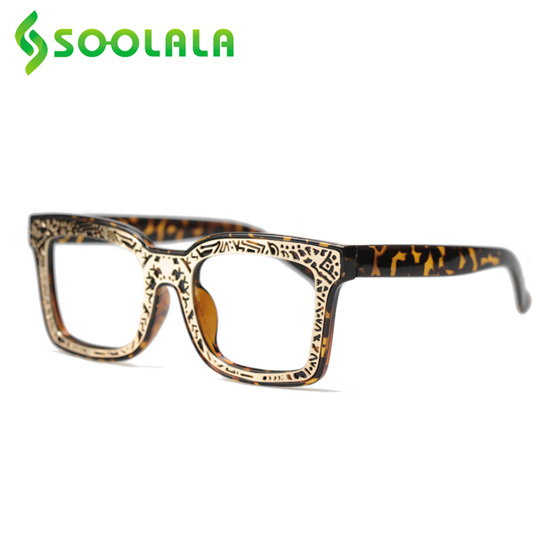 SOOLALA Unique Hollow Patterned Square Reading <font><b>Glasses</b></font> Women Clear Lens Reader Presbyopic <font><b>Glasses</b></font> <font><b>0.5</b></font> 0.75 1.0 1.5 2.0 to 4.0 image