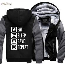 Eat Sleep Rave Repeat Game Hoodies Mens 2018 Winter Warm Fleece Male Sweatshirt Casual Funny Men Thick Coat Plus Size Hoodie 5XL