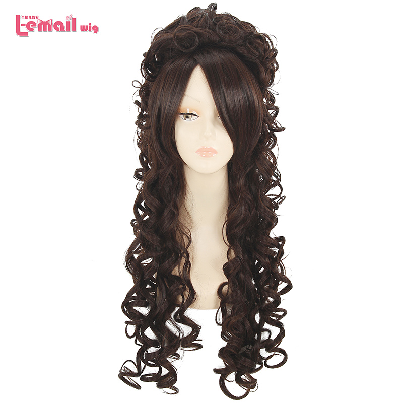 L-email Wig Long Curly Cosplay Wigs 5 Colors Curly Black Beige Pink Purple Brown Synthetic Hair Cosplay Wig Halloween
