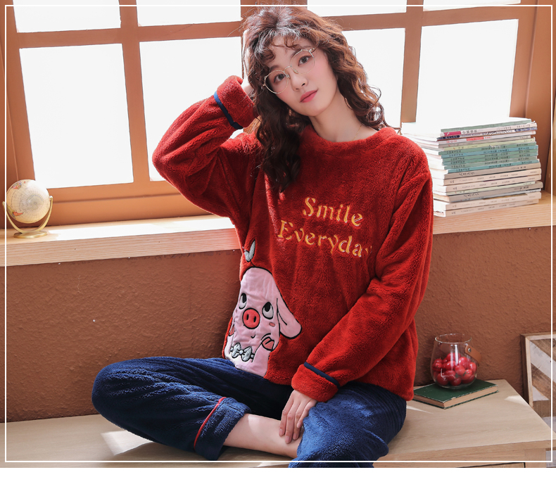 Long Sleeve Warm Flannel Pajamas Winter Women Pajama Sets Print Thicken Sleepwear Pyjamas Plus Size 3XL 4XL 5XL 85kg Nightwear 339