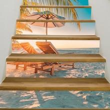 6pcs/set Summer Beach Coconut Tree 3D Window View Sticker Beach Wall Murals Art Removable Wall sticker living room decoration bamboo forest trail removable window view wall sticker