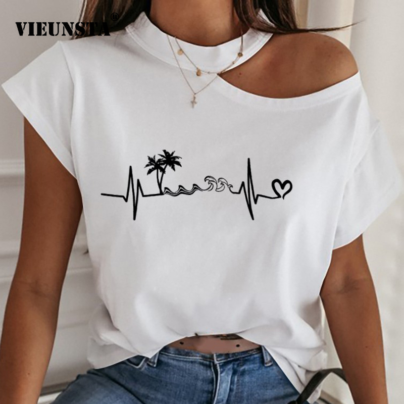 2XL Women Shirts Blouses 2020 Summer Halter Short Sleeve Tops Sexy Backless Hollow Out Ladies Shirt Print Loose Streetwear Blusa