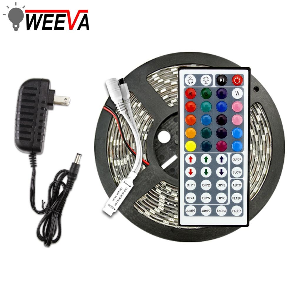 LED Strip Light Flexible Diode Ribbon Tape DC 12V 1M 2M 3M 4M 5M SMD 2835 5050 RGB Waterproof Power Remote Lighting 24Key 44Key