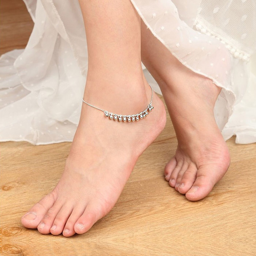 Bohemia Foot Beach Anklets 27 cm 100%925 Sterling Silver Anklet Bracelet Women Fashion Barefoot Chain Jewelry Summer gift