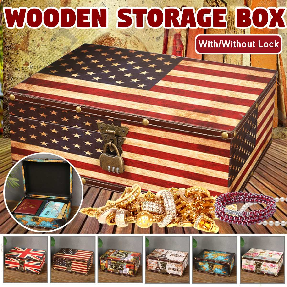 Retro Treasure Chest with Lock Vintage Wooden Storage Box Antique Style Jewelry Organizer for Wardrobe Jewerly