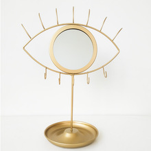 Creative Detachable Makeup Mirror Bathroom Wall Mirrors  Simple Iron Wall- Mounted Mirror Decorative Mirror Stand Up for Home
