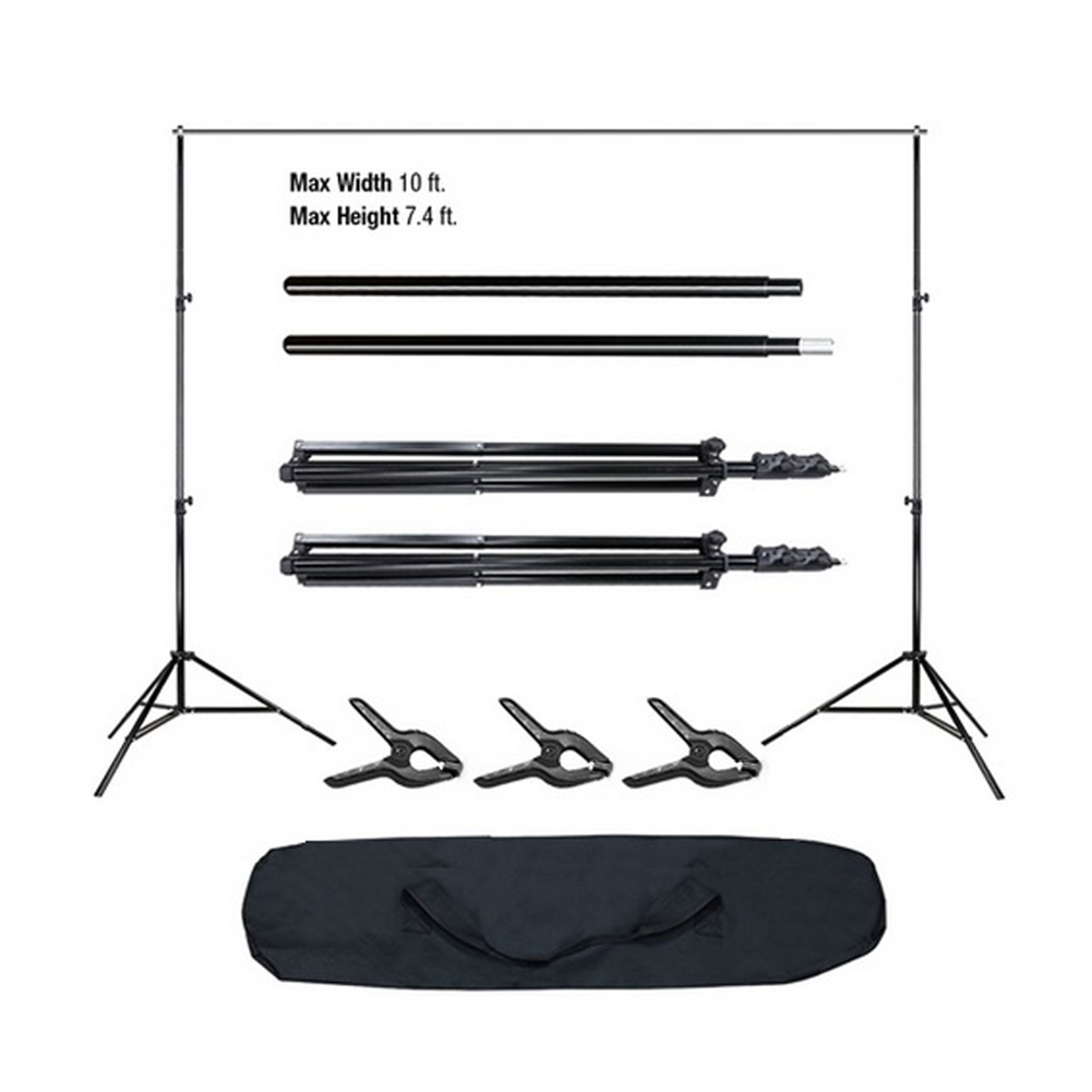 Backdrop Support Stand Set 3 Fish Mouth Clips with Carrying Bag for Photo Video Shooting Photography Studio Supplies