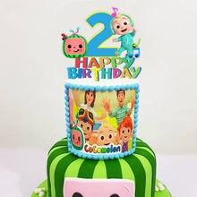 1 conjunto cocomelon festa de aniversário decoração crianças cupcake bolo topper para meninas festa de aniversário feliz chá de fraldas bolo suprimentos