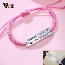 Vnox dostosuj dziecko ID bransoletki dla dziewcząt chłopców, regulowany pleciona lina ze stali nierdzewnej stalowa bransoletka, noworodki spersonalizowane SOS prezent