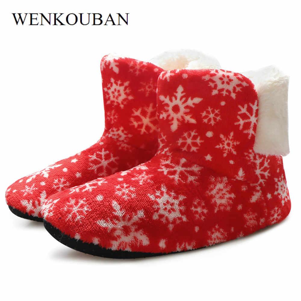Kış ev yarım çizmeler kadınlar için sıcak kürk kar botları bayanlar noel kapalı çorap ayakkabı peluş astarı ayakkabı Bottine Femme