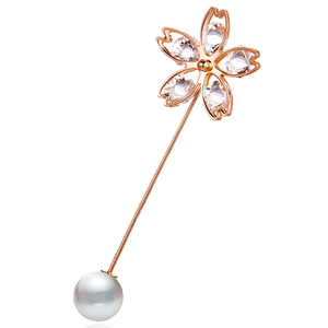 Image 1 - 2019 1 Piece Vintage Gold Brooch Pins Double Head Simulation Pearl Large Big Brooches For Women Wedding Jewelry Accessories