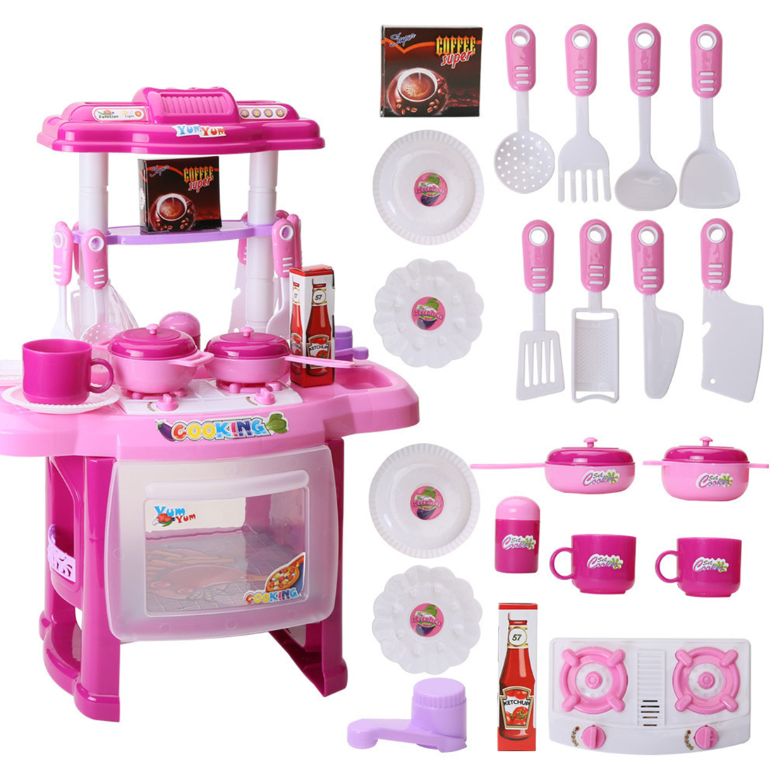 23Pcs/set Children Pretend Play Kitchen Table Set Cookware Appliance Cooking Play Toy Kitchen With Music And Light - Pink/Red