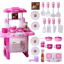 23Pcs/set Children Pretend Play Kitchen Table Set Cookware Appliance Cooking Toy with Music and Light - Pink/Red