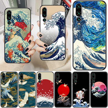 Japanese Waves Japan Art Phone case For Huawei P Mate P10 P20 P30 P40 10 20 Smart Z Pro Lite 2019 black trend cell cover 3D image