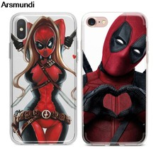 Arsmundi Lady Deadpool Movie Phone Cases for iPhone 4S 5C 5S 6S 7 8 Plus X XS XR 11 Pro Case Crystal Clear Soft TPU Cover Cases(China)