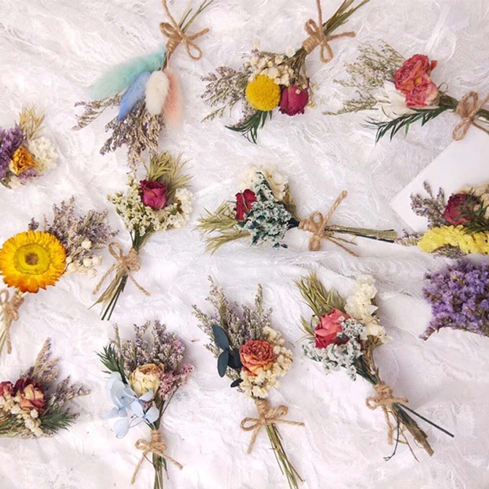 Мини натуральным букет из сушеных цветов розы пампасной травы Гипсофила домашние декоративные растения поделки своими руками (13 см)