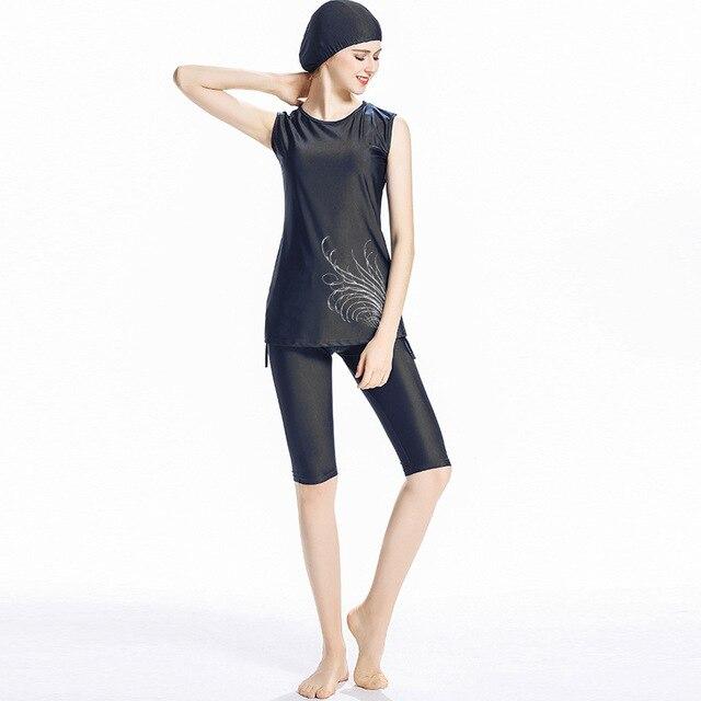 イスラム教徒の女性の水着ノースリーブイスラム女性水着ツーピース水着保守的なショートburkini水泳パンツ3in1
