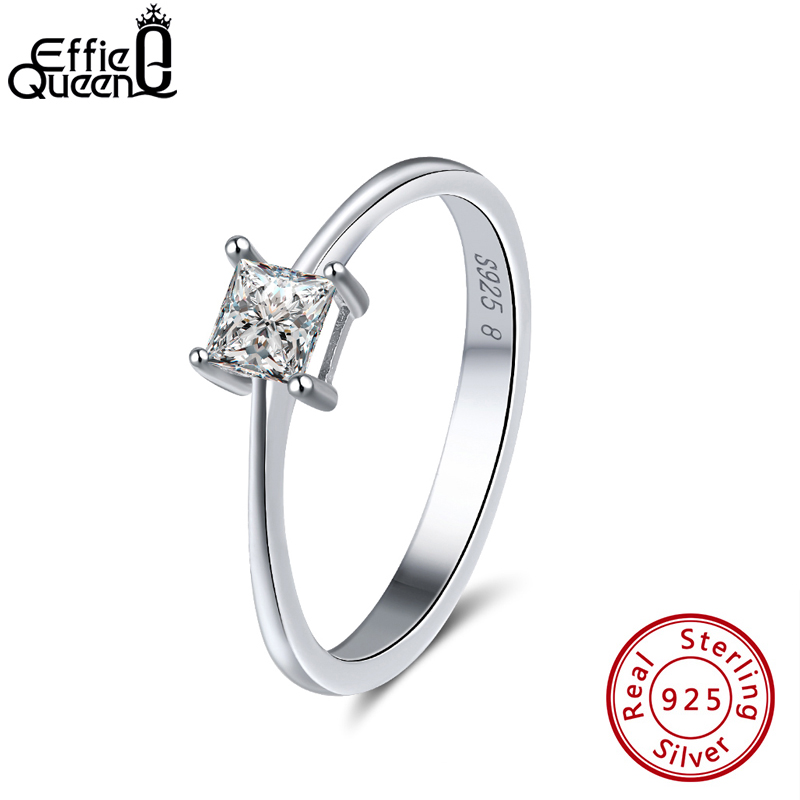 Effie Queen 925 Sterling Silver Classic Women Rings Square Cut AAA Shiny Cubic Zircon Wedding Ring Jewelry For Female Gift BR57