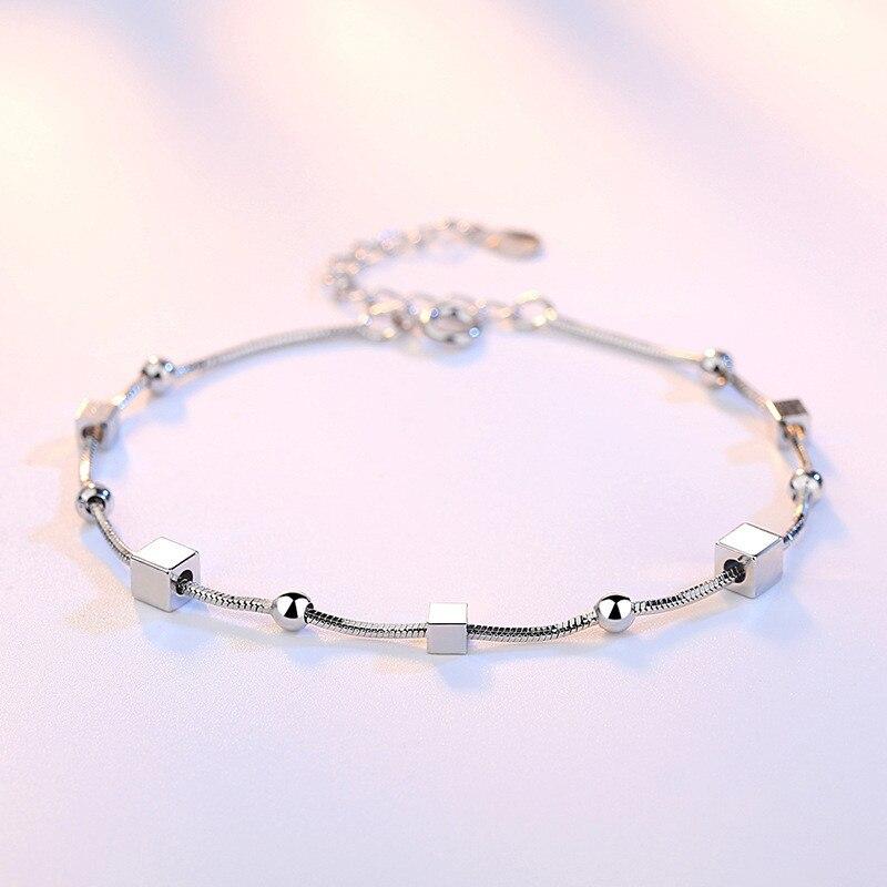 DAIWUJAN Multi-layer 925 Sterling Silver Charm Bracelets Women Girls Star Square Beads Snake Chain Wedding Engagement Jewelry