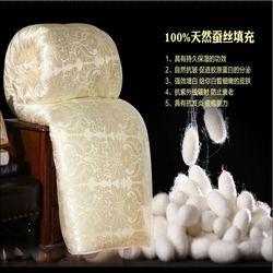 100% enchimento de seda natural Quilt acolchoado rei rainha tamanho Consolador completa Inverno Cobertor Grosso Cor Sólida