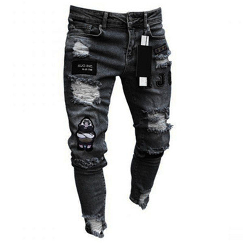 3 Styles Men Stretchy Ripped Skinny Biker Embroidery Print Jeans Destroyed Hole Taped Slim Fit Denim Scratched Men's Jeans