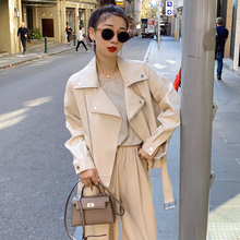 Jacket Short Turn-Down-Collar Solid-Coat Motorcycle Bf-Style Women Casual New FTLZZ Zipper