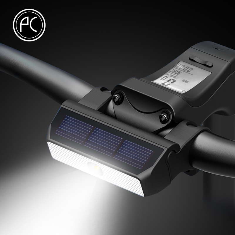 PCycling Bicycle Light Solar Energy Charging IPX6 Waterproof Intelligent Switch MTB Road Bike Headlight Cycling Accessories