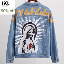 Fashion BF Style High Quality Brand Vintage Painting Print Jeans Jackets Hip Hop Washed Denim Jacket Coat Men Loose Streetwear(China)