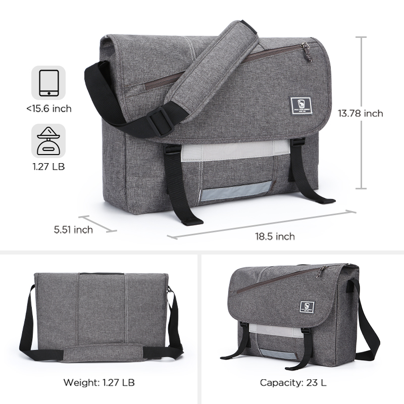 Messenger Bag 13.3 Inch for Men and Women Durable Canvas Briefcase Lightweight Shoulder Bag Portable College Satchel for School Work Travel and Daily Use,Black