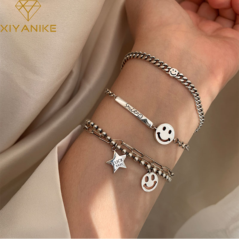 XIYANIKE 925 Sterling Silver Trendy Bracelet for Women Vintage Handmade Smiling Face Bracelets Fine Jewelry Birthday Gifts