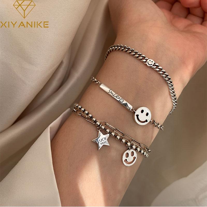 XIYANIKE 925 Sterling Silver Trendy Bracelet for Women Vintage Handmade Smiling Face Bracelets Fine Jewelry Birthday Gifts(China)