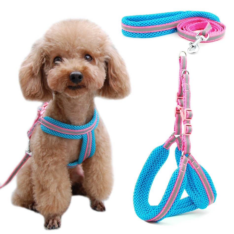 犬猫ハーネスベスト反射通気性メッシュペット製品犬ハーネス調整可能な首輪子犬小型犬ナイトウォーキング