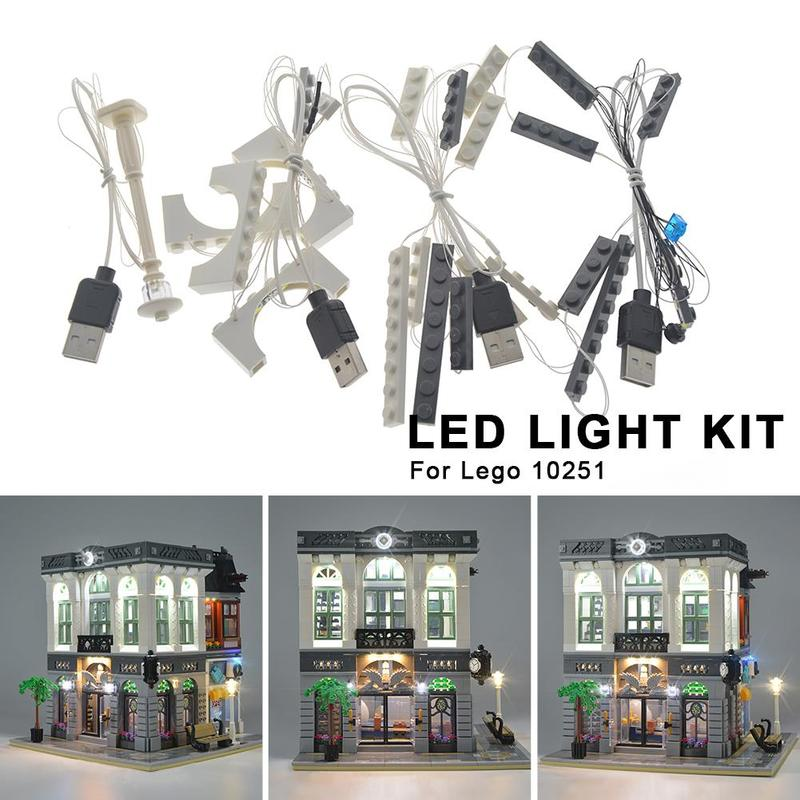 For <font><b>LEGO</b></font> <font><b>10251</b></font> Creative Street View City Bank DIY Luminous Assembled Building Blocks Led Light Kit Building Blocks Supplies image