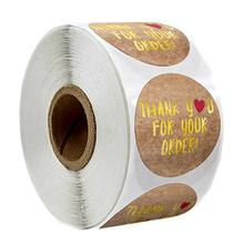 500pcs / roll pure natural kraft paper thank you stickers gold foil round seal label cute diary scrapbook stationery